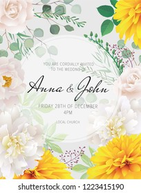 Wedding floral  invitation, save the date card design with white roses and peonies and yellow chrysanthemum and elegant geometric decoration. Geometric botanical vector design frame.Trendy wedding card.