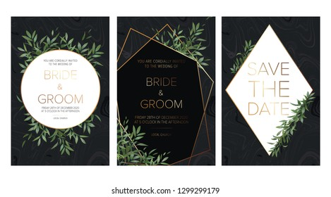 Wedding floral invitation, save the date card design with a ruscus leaves, forest plants, herbs composition & golden frame on the black marble background. All elements are isolated and editable