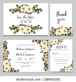Wedding floral invitation template set with anemone flower bouquet. RSVP, thank you, invite card with floral decoration.