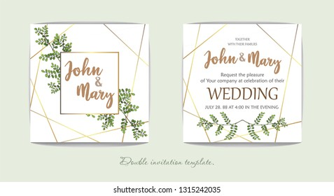 Wedding floral invitation, thank you modern card: rosemary, eucalyptus branches on white texture with a golden geometric pattern. Elegant rustic template. All elements are isolated and editable