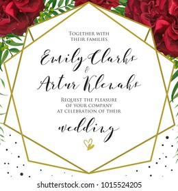 Wedding floral invite, invitation card design with red burgundy rose flowers, palm leaves, green berries, elegant geometrical golden frame and black polka dot decoration. Vector natural modern layout