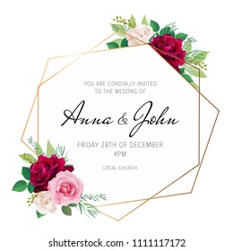 Wedding floral invite, invitation card design with red burgundy, pink and white rose flowers and elegant geometrical golden frame. Trendy wedding card. Modern template. EPS 10