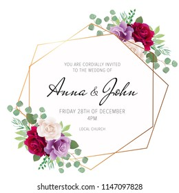 Wedding floral invite, invitation card design with red burgundy, purple and white rose flowers and elegant geometrical golden frame. Trendy wedding card. Vector, modern geometry template