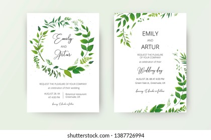 Wedding floral invite, invitation card design. Watercolor style natural greenery plants, forest fern leaves, green eucalyptus branches & herbs wreath decoration. Modern, botanical, rustic, elegant set