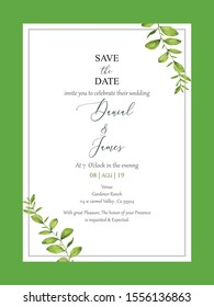 Wedding floral invite, invitation card design. Watercolor style natural greenery plants, branches & herbs wreath decoration. Modern, botanical, rustic, elegant set.