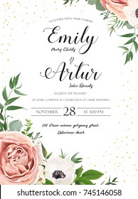 Wedding floral invite invitation card design: Rose pink lavender flower, white anemones, wax, Eucalyptus branch greenery leaves watercolor style, rustic, delicate green anniversary copy space template