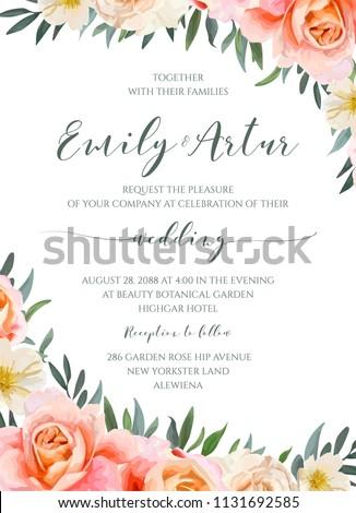 Wedding Floral Invite Invitation Card Design Stock Vector