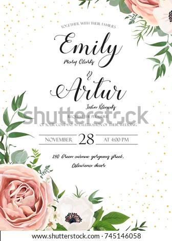 wedding floral invite invitation card design のベクター画像素材