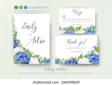 Wedding floral invite, invitation, save the date, thank you, rsvp, card design with elegant, blue hydrangea flowers, white garden roses, green eucalyptus, lilac, greenery leaves & beries. Delicate set