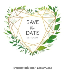 Wedding floral invite, invitation, save the date card design. Luxury, golden geometrical heart shape frame & fresh forest watercolor greenery plants, branches, green leaf wreath botanical illustration