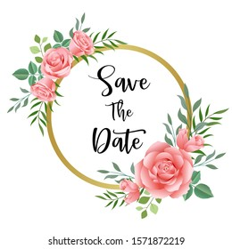 Wedding floral invite, invitation save the date card design with roses pink flower, gold frame Wedding floral invite