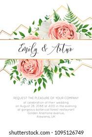 Wedding floral invite, invtation card design. Watercolor style blush pink roses, white garden peony flowers, green leaves, greenery fern & golden geometrical border. Vector art elegant classy template