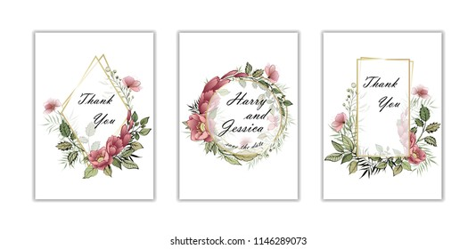 Wedding floral invite, invtation card design. Watercolor blush pink rose, white garden peony flowers, green leaves, greenery fern. Transparent gold frame. set of three postcards