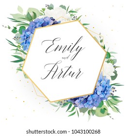 Wedding floral invite, save the date card design with elegant blue violet hydrangea flowers, white garden roses,  eucalyptus green branches, greenery leaves & golden frame decoration. Luxury template