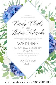 Wedding floral invite, save the date card design with elegant blue violet hydrangea flowers, white garden roses, eucalyptus green branches, greenery leaves & geometrical frame. Luxury beauty template