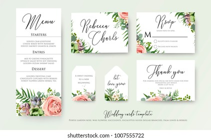 Wedding floral invite thank you, rsvp label cards Design: lavender pink violet garden rose, green tropical palm leaf greenery eucalyptus branches decoration. Vector elegant watercolor rustic template
