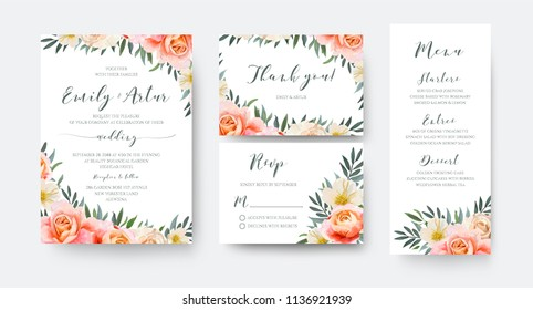 Wedding floral invite, thank you, rsvp, menu card design with garden pink peach, orange Rose, yellow, white Magnolia flower, Eucalyptus, green Olive tree leaves wreath decoration. Romantic, vector set