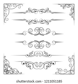 Wedding Floral Ornament Frame, Corner, Divider Collection