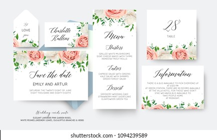 Wedding floral save the date, menu, label, table number card big vector design with creamy white garden peony flowers blush pink roses, eucalyptus green leaves, greenery herbs decoration. Romantic set