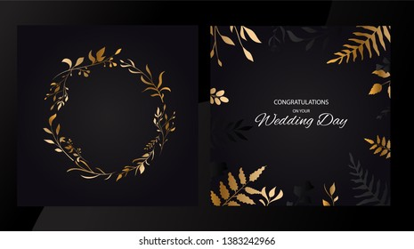 Wedding floral set invite cards design with golden vector leaves style. Circle gold . Vector
