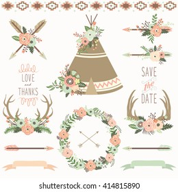Wedding Floral Teepee Tribal Set