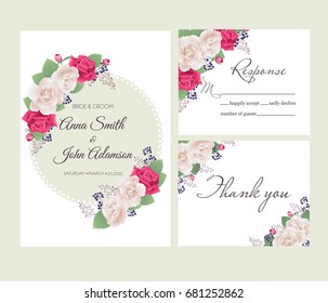 Wedding floral template collection.Wedding invitation, thank you card, save the date cards. Beautiful white and red roses. Vector illustration. EPS 10