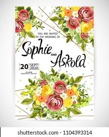 Wedding floral template invite, garden flower burgundy ranunculus and yellow, orange and white roses, green leaves, gold decor. Trendy decorative layout. Vector illustration