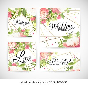 Wedding floral template invite, garden flower pink peonies, green leaves, gold decor. Trendy decorative layout. Vector illustration