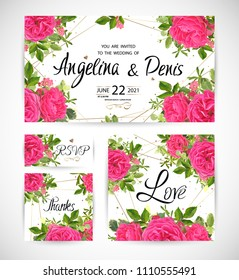 Wedding floral template invite, garden flower roses, green leaves, gold decor. Trendy decorative layout. Vector illustration