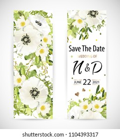 Wedding floral template invite, pattern, garden flower white poppy and rose, green leaves, gold decor. Trendy decorative layout. Vector illustration