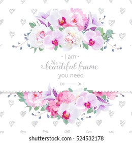 Wedding floral vector design horizontal card. Pink and white peony, purple orchid, hydrangea, violet campanula flowers frame. Delicate hand-drawn hearts backdrop. All elements are editable