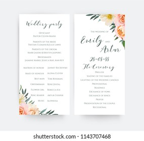 Wedding floral watercolor party ceremony program card design with garden pink peach, orange Rose, yellow, white Magnolia flower, Eucalyptus, green Olive tree leaves wreath romantic elegance decoration