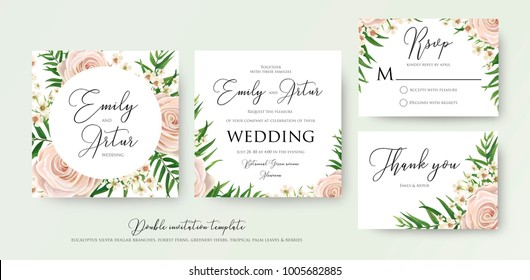Wedding floral watercolor style double invite, rsvp, thank you card design with pink, creamy white garden rose, wax flowers, green tropical palm tree leaves greenery frame. Vector elegant template set