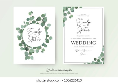 """Wedding floral watercolor style double invite, invitation, save the date card design with cute Eucalyptus tree branches with greenery leaves decoration. Vector natural elegant, rustic luxury template"