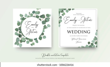 Wedding floral watercolor style double invite, invitation, save the date card design with cute silver dollar eucalyptus tree branches with greenery leaves. Vector  natural elegant rustic art template