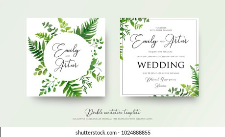 Wedding floral watercolor style double invite, invitation, save the date card design with forest greenery herbs, leaves, eucalyptus branches, fern fronds. Vector natural, botanical, elegant template
