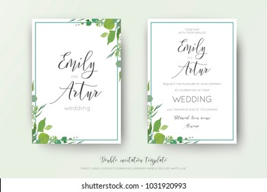 Wedding floral watercolor style double invite, save the date card design. Forest greenery herbs, leaves, eucalyptus branches, white tiny lilac flowers. Vector, organic, botanical, elegant art template