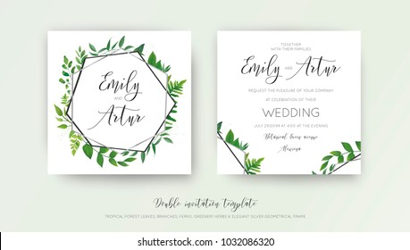Wedding floral watercolor style double invite, invitation, save the date card design with forest greenery herbs, vine leaves, ferns and luxury silver, gray geometrical frame. Vector botanical template