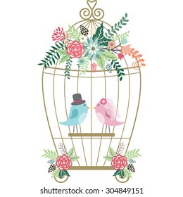 Wedding Floral,Birdcage,Birds.