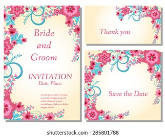 Wedding flower invitation, thank you card, save the date cards. Wedding floral vector set