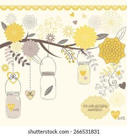 Wedding  Flower with Mason Jar