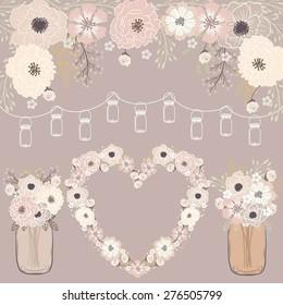 Wedding flower / mason jar banner / heart flower wreath