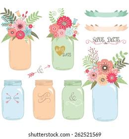 Wedding flower Mason Jar,Hand Draw set