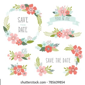 Wedding flowers vector collection. Floral design elements including floral wreath frame, ribbons, bouquets.