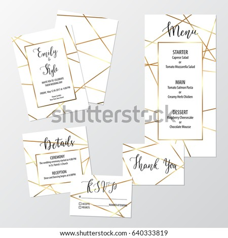 wedding geometric invite design set gold stock vector royalty free