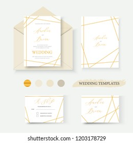 Wedding geometrical gold invitation card envelope save the date rsvp label design wreath frame. Decorative vector template illustration
