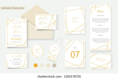 Wedding geometrical gold invitation card envelope save the date rsvp menu table label design wreath frame. Decorative vector template illustration