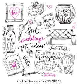 wedding gift ideas set cartoon doodle stock vector royalty free
