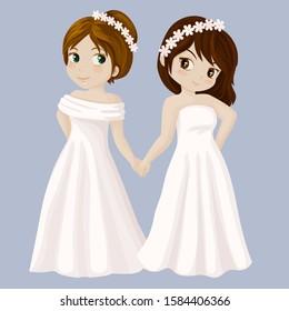 Wedding girls couple. Vector illustration
