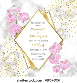 Wedding glamorous invitation floral card with gold geometric frame and orchids on marble background. Fashion greenery botanical greeting invite with watercolor effect. Template with text place.